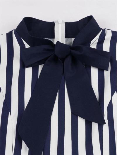1950S Stripes Bow Collar Short Sleeve Swing Dress