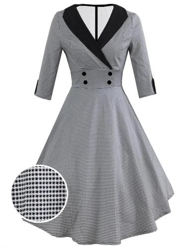 1950S 3/4 Sleeve Classic Plaid Elegant Turndown Collar Swing Dress