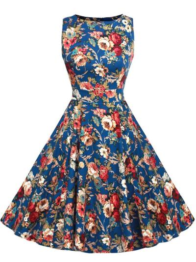 Noble 1950S Vintage Royal Court Floral Sleeveless Swing Dress