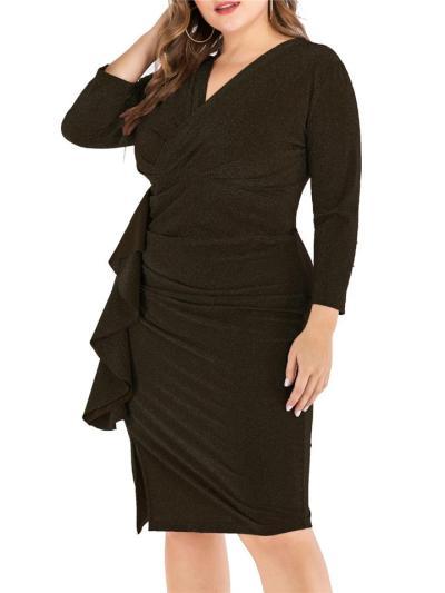 Plus Size Sexy Ruffles VNeck Long Sleeve Sheath Dress
