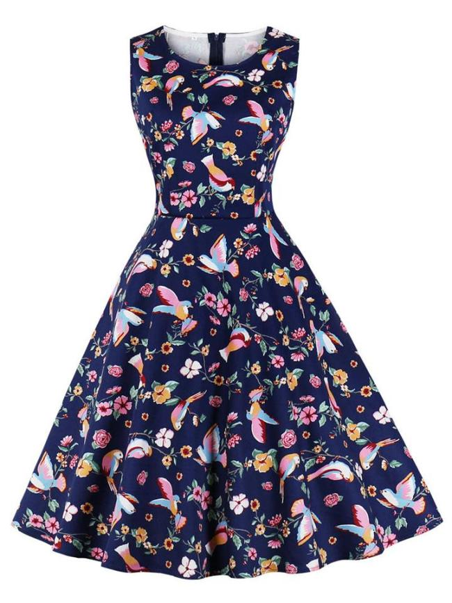 Colorful 1950S Floral Printed Sleeveless Swing Dress