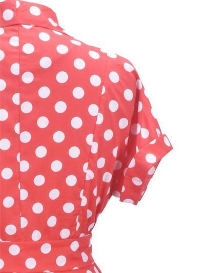 Red 1950S Polka Dot Belted ShortSleeve Swing Dress