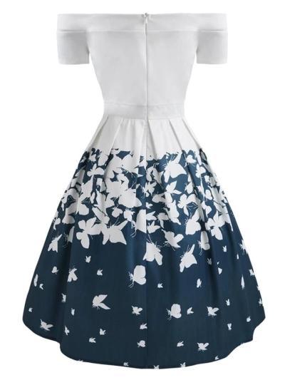 1950S Decent Butterfly Off Shoulder Swing Dress