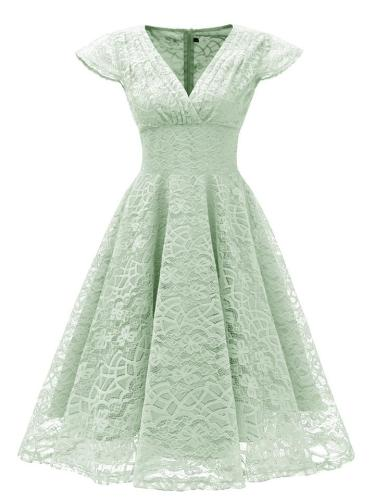 1950S Lace Floral V Neck Cap Sleeve Swing Dress