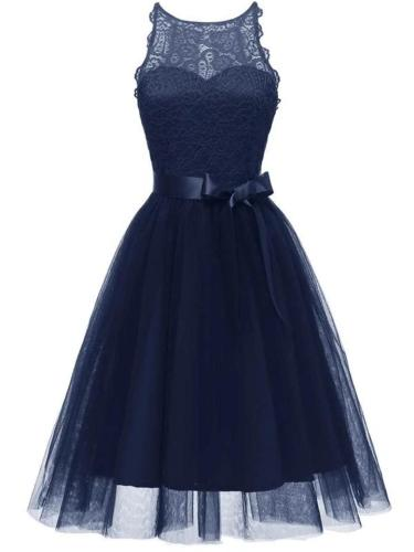 Solid Color 1950S  Charm Lace Patchwork Belted Bow Swing Dress