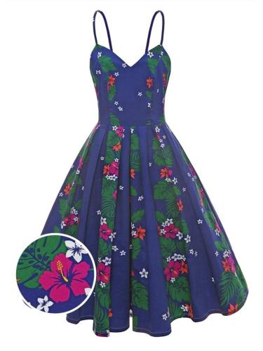 Navy Blue 1950S Pretty Floral Strap Swing Dress