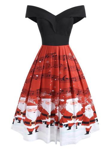 Vintage 1950S Elegant Off Shoulder Christmas Print Swing Dress