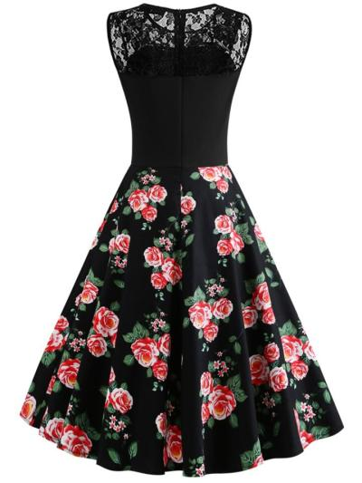 Black 1950S Floral Printed Lace Patchwork Sleeveless Swing Dress