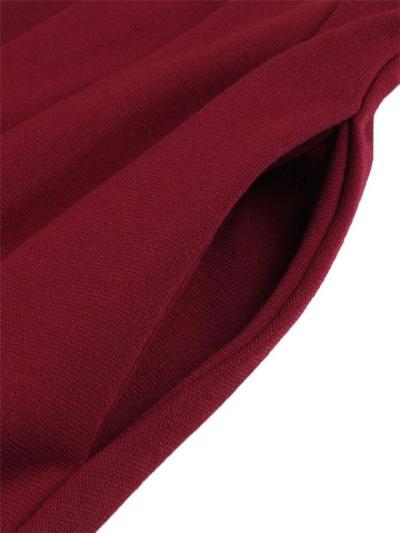 Elegant 1950S Stand Collar Bow Short Sleeve Pleated Dress