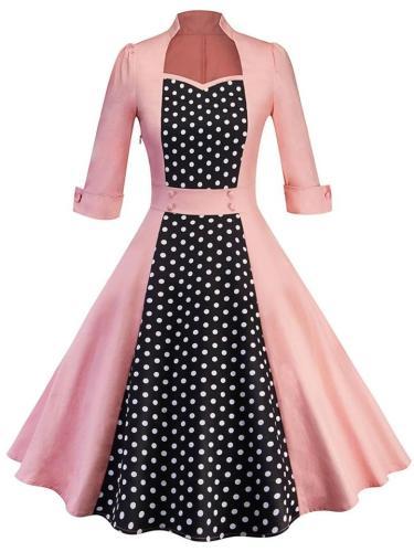 1950S Feminine Polka Dot Patchwork Midi Dress