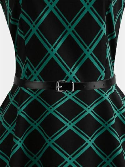 Gorgeous Green 1950S Plaid Sleeveless Belted Swing Dress