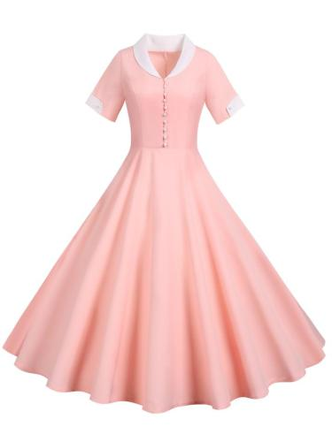 1950S Elegant Solid Color Turndown Collar Swing Dress