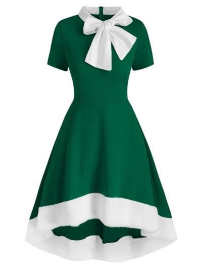 Elegant 1950S Bowknot Collar High-Low Dress