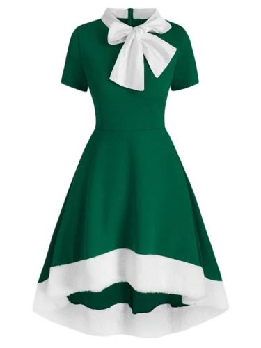 Elegant 1950S Bowknot Collar High-Low Dress