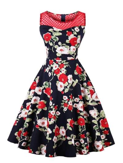 1950S Floral Print Mesh Splicing Sleeveless Midi Dress