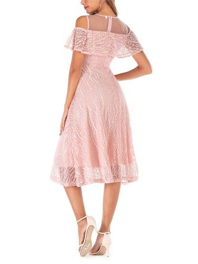 Elegant Lace Patchwork Ruffles Midi Dress For Party