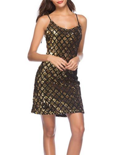 Gold Glitter Sequin Sexy V Neck Spaghetti Strap Bodycon Dress