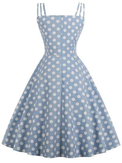 1950S Cute Spaghetti Strap Polka Dot Midi Dress