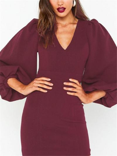 Domineering Red VNeck Bubble Sleeve Sheath Dress