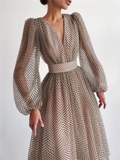 Elegant Polka Dot Puff Sleeve Midi Dress