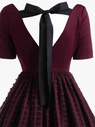 Wine Red 1950s Sexy Back Lace Up Dress