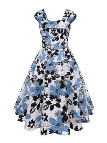 1950S Floral Cherries Print Square Neck Swing Dress