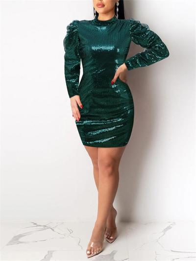 Extraordinary Green Sequin LongSleeve Bodycon Dress
