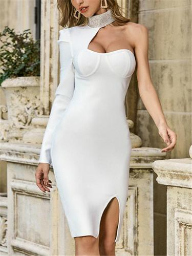 White Sexy Single Long Sleeve Backless Bodycon Dress For CocktailParty