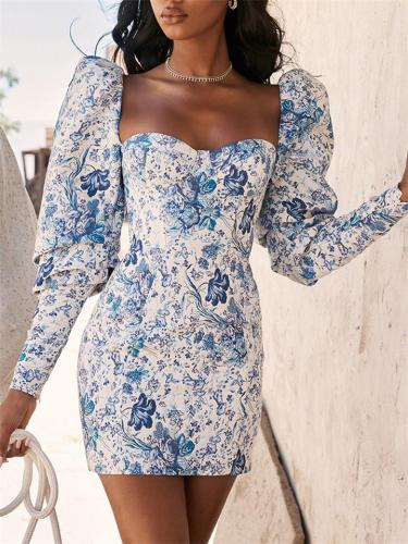 Distinctive Blue and White Floral Print Puff Sleeve Sheath Dress