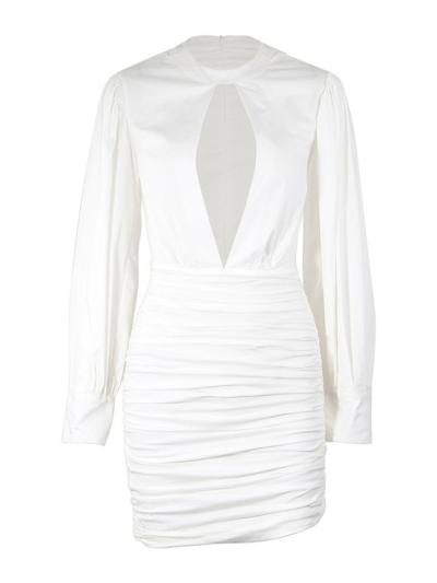 White Sexy Bubble Long Sleeve Ruched Sheath Dress For Party