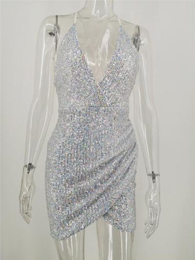 Sexy Sequins Spaghetti Strap Backless Mini Dress For CocktailParty