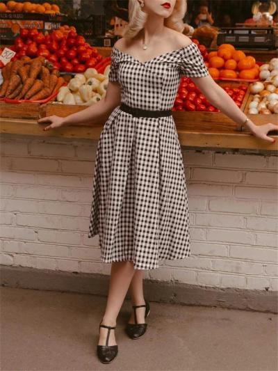 Black White Classic 1950S Plaid Off Shoulder Swing Dress