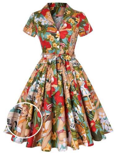 1950S Bikini Girls Turn-Down Collar Swing Dress
