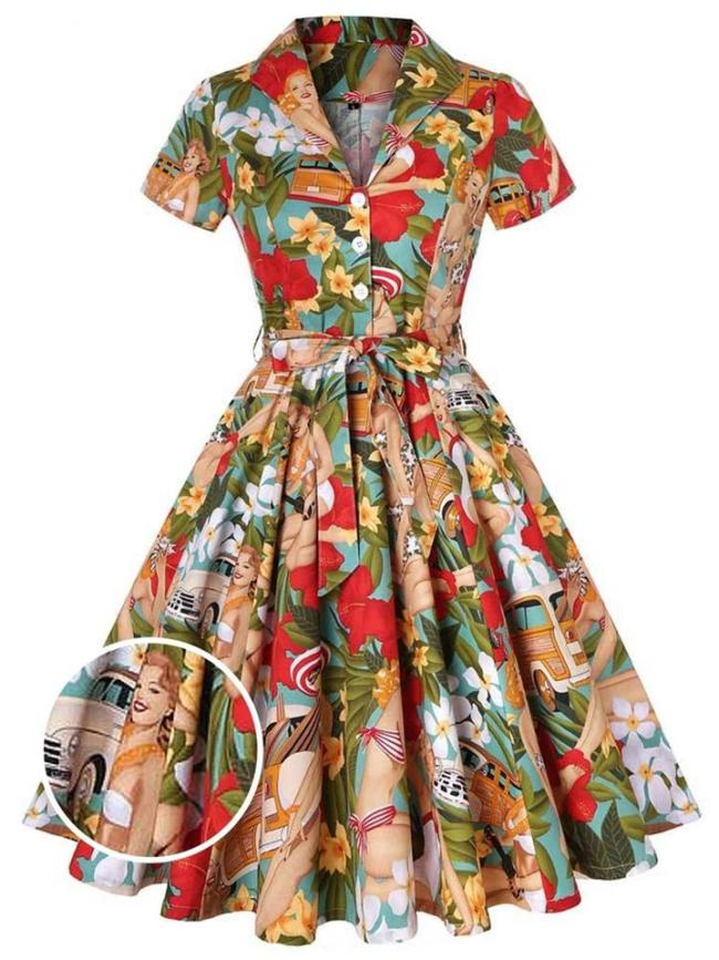1950S Bikini Girls Turn-Down Collar Swing Dress
