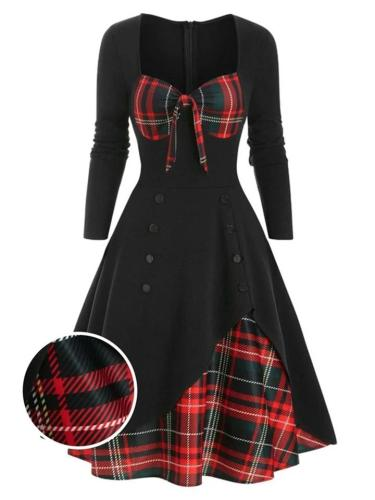 1950S Sweetheart Plaid Patchwork Long Sleeve Dress