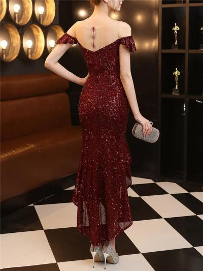Gorgeous Shiny Sequins High-Low Ruffle Hem Dress For Party