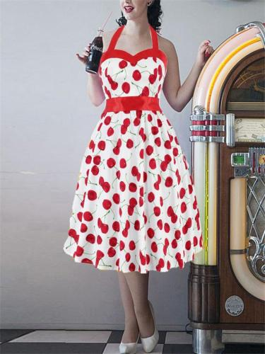 Retro Style 1950s Sweetheart Halter Neck Fitted Flare Pleated Dress