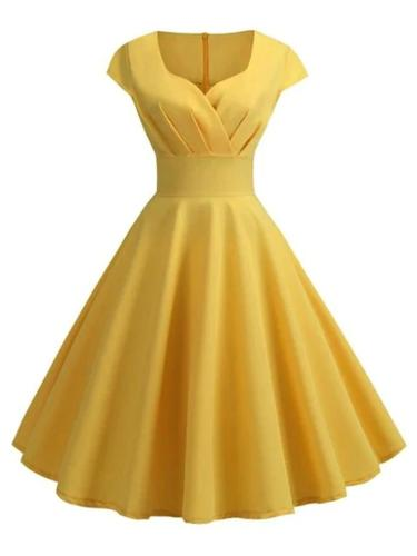 Solid Color 1950S Charm V NeckCap Sleeve Swing Dress
