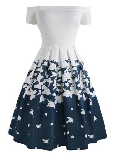 1950S Decent Butterfly Off Shoulder Swing Dress