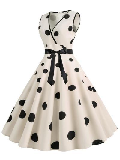 1950S V Neck Sleeveless Bow Polka Dot Swing Dress
