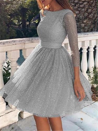 Sequin Elegant Long Sleeve Backless A-Line Dresses For Cocktail Party