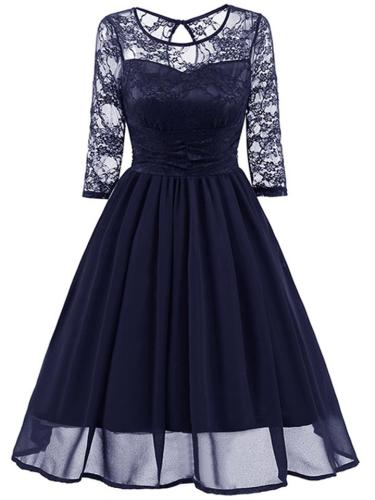 Dark Blue 1950S Lace Patchwork Swing Dress