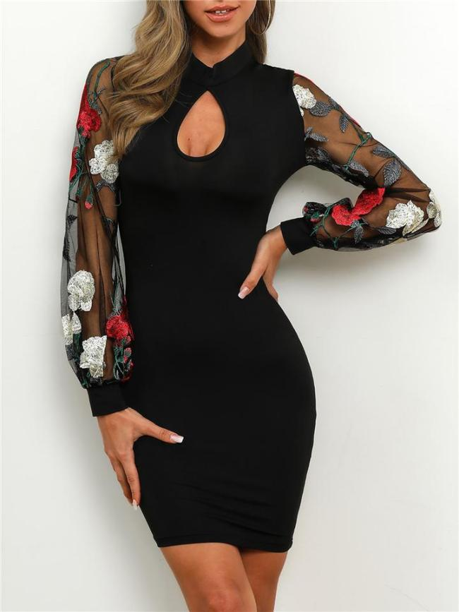 Sexy Elegant Black Lace Embroidery Puff Sleeve Cutout Detail Bodycon Dress For Party