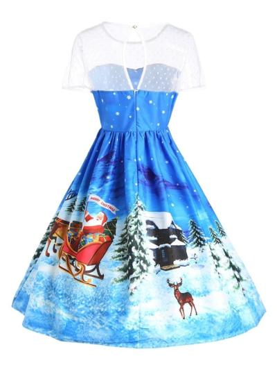 1950S Lovely Christmas Print Lace Patchwork Short Sleeve Swing Dress