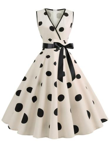1950S V Neck Sleeveless Bow Polka Dot Swing Dress