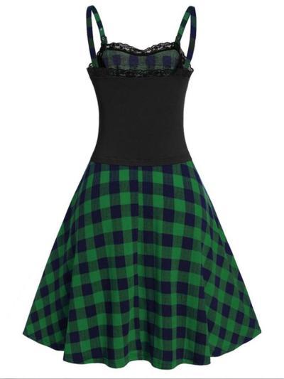 1950S Classic Plaid Lace Corset Patchwork Slip Dress