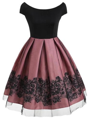 1950S Lace Floral Print Cape Sleeve Dress