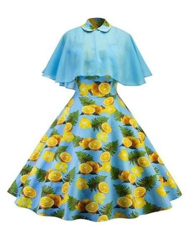 Sweet Blue 1950S Lemon Swing Dress With Cape
