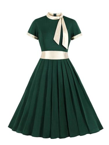 Elegant 1950S Stand Collar Bow Short Sleeve Pleated Dress