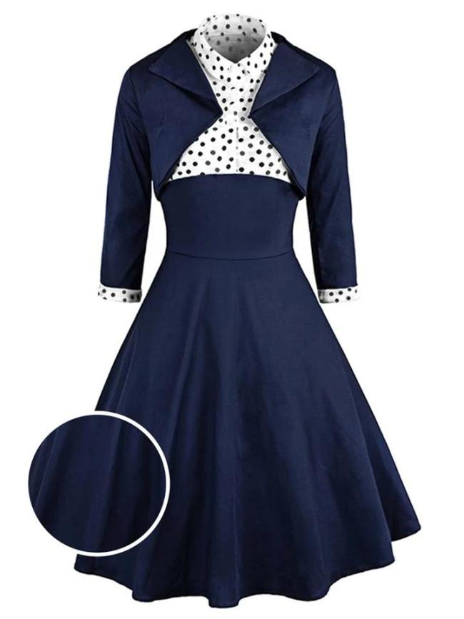 2Pcs Navy Blue 1950S Polka Dot Long Sleeve Swing Dress